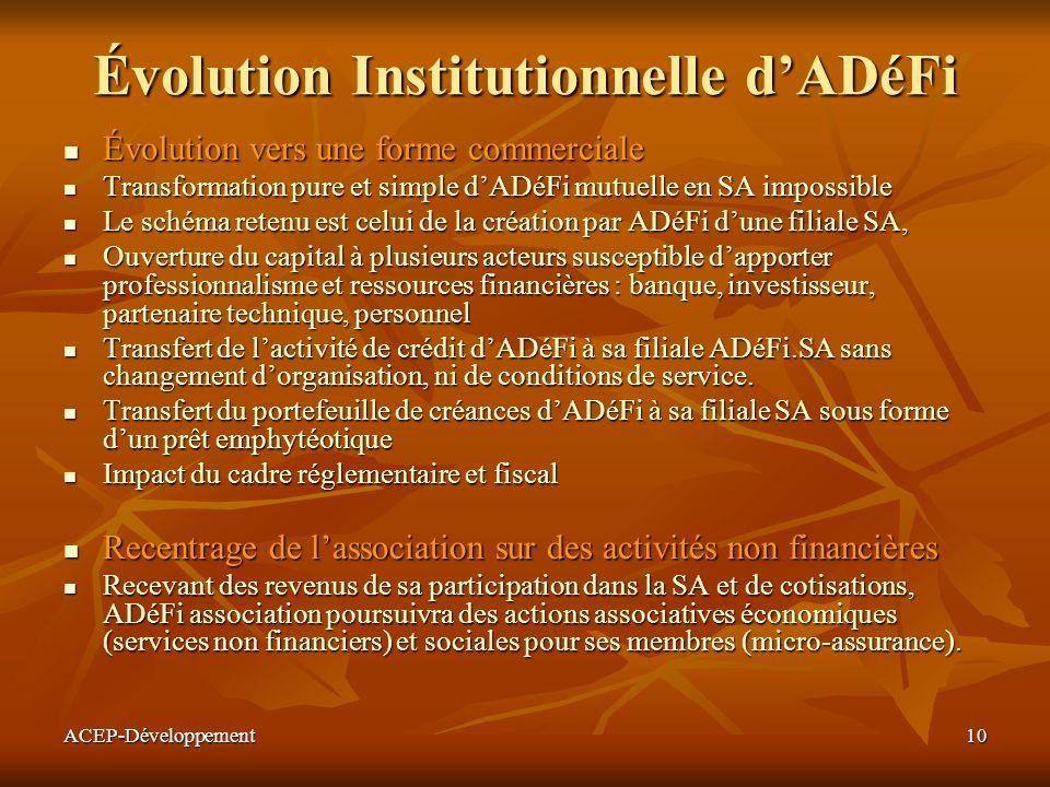 ACEP-Développement10 Évolution Institutionnelle dADéFi Évolution vers une forme commerciale Évolution vers une forme commerciale Transformation pure e