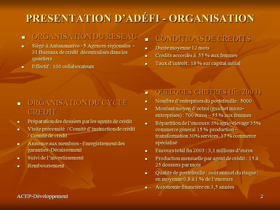 ACEP-Développement2 PRESENTATION DADÉFI - ORGANISATION ORGANISATION DU RESEAU ORGANISATION DU RESEAU Siège à Antananarivo - 5 Agences régionales - 31