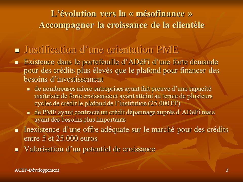 ACEP-Développement3 Lévolution vers la « mésofinance » Accompagner la croissance de la clientèle Justification dune orientation PME Justification dune