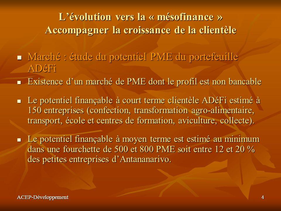 ACEP-Développement4 Lévolution vers la « mésofinance » Accompagner la croissance de la clientèle Marché : étude du potentiel PME du portefeuille ADéFi
