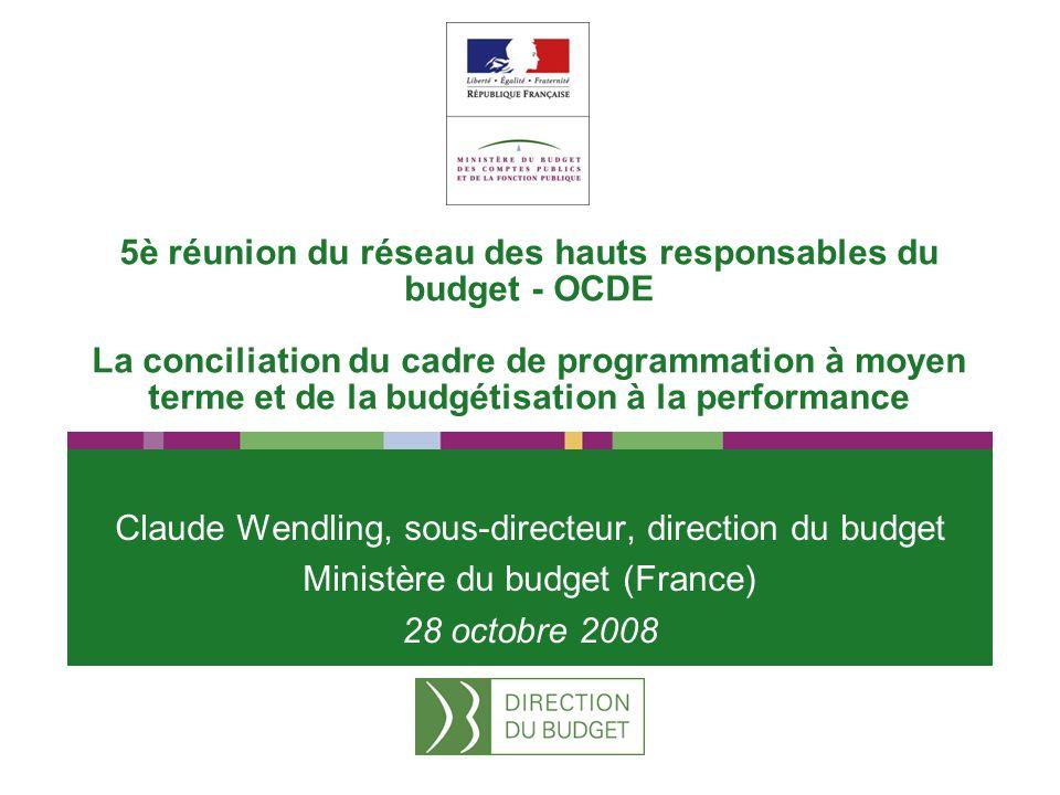 5è réunion du réseau des hauts responsables du budget - OCDE La conciliation du cadre de programmation à moyen terme et de la budgétisation à la performance Claude Wendling, sous-directeur, direction du budget Ministère du budget (France) 28 octobre 2008