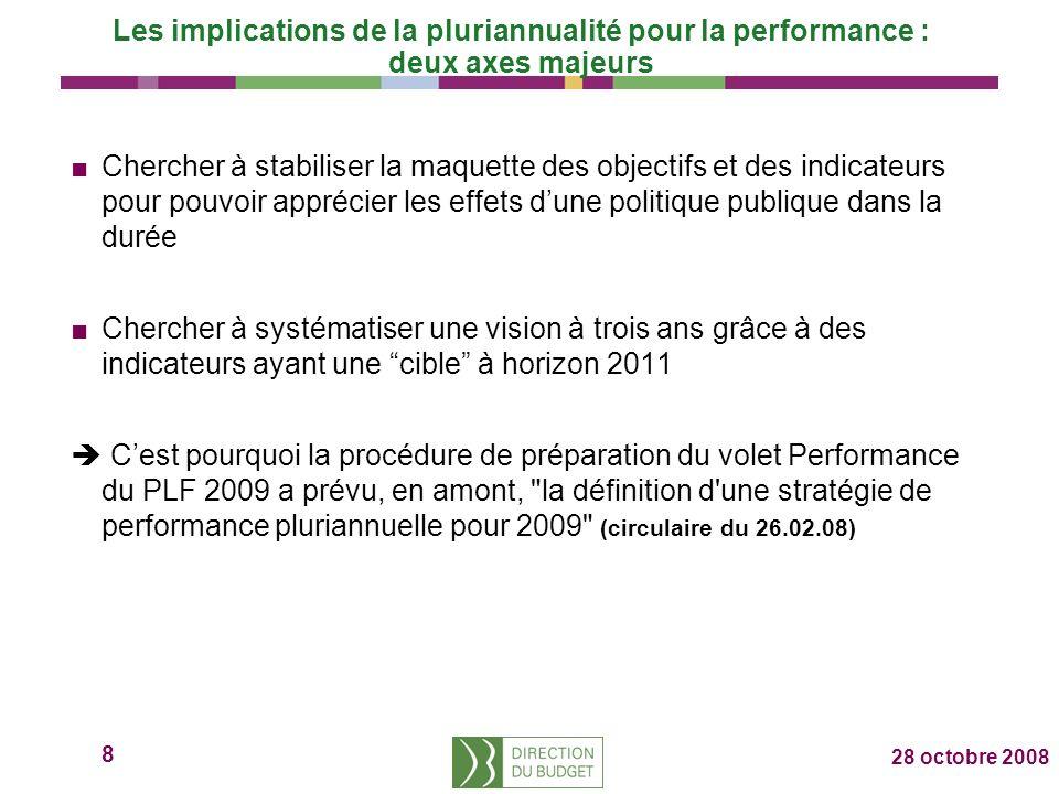 8 28 octobre 2008 Les implications de la pluriannualité pour la performance : deux axes majeurs Chercher à stabiliser la maquette des objectifs et des indicateurs pour pouvoir apprécier les effets dune politique publique dans la durée Chercher à systématiser une vision à trois ans grâce à des indicateurs ayant une cible à horizon 2011 Cest pourquoi la procédure de préparation du volet Performance du PLF 2009 a prévu, en amont, la définition d une stratégie de performance pluriannuelle pour 2009 (circulaire du 26.02.08)