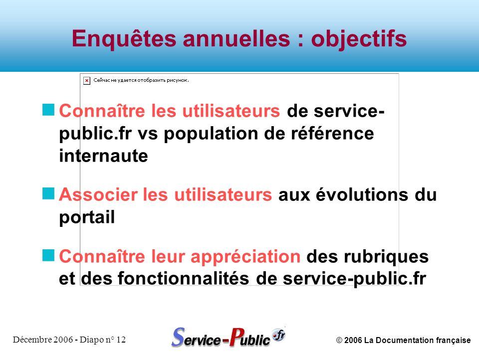 © 2006 La Documentation française Décembre 2006 - Diapo n° 12 Enquêtes annuelles : objectifs n Connaître les utilisateurs de service- public.fr vs pop