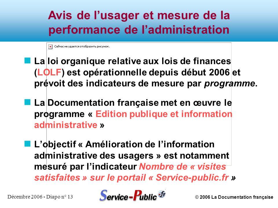 © 2006 La Documentation française Décembre 2006 - Diapo n° 13 Avis de lusager et mesure de la performance de ladministration n La loi organique relati