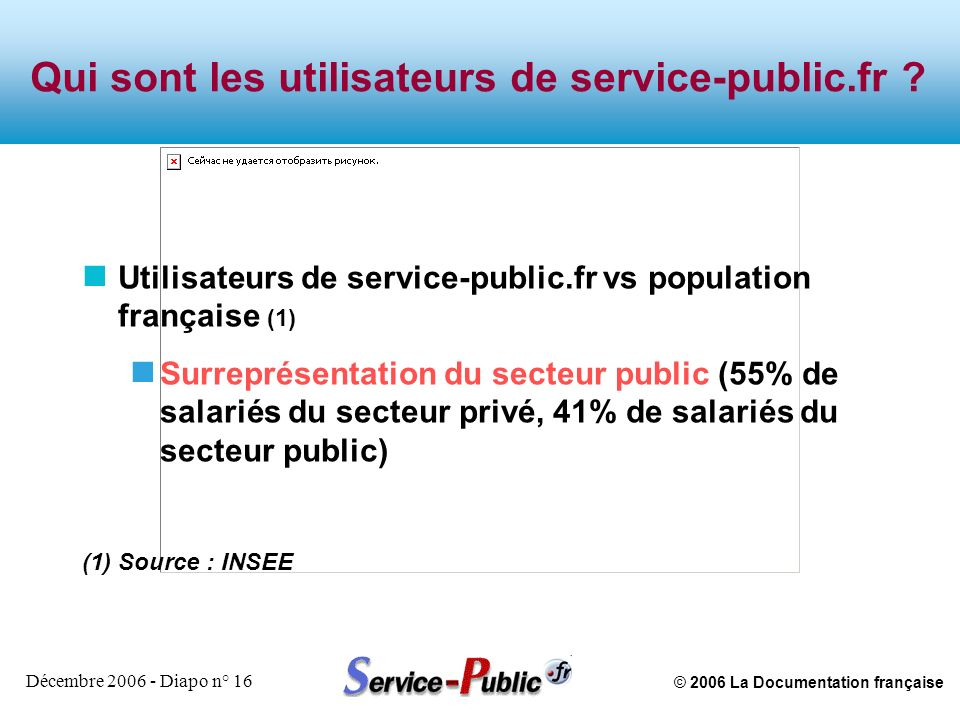 © 2006 La Documentation française Décembre 2006 - Diapo n° 16 Qui sont les utilisateurs de service-public.fr ? n Utilisateurs de service-public.fr vs