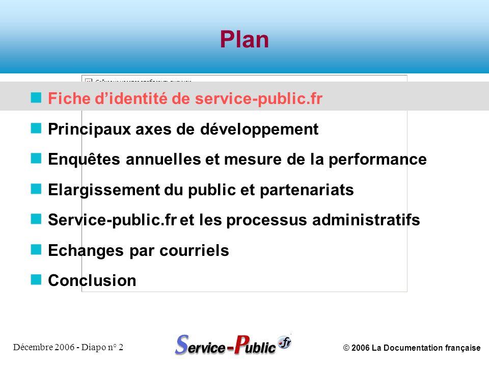 © 2006 La Documentation française Décembre 2006 - Diapo n° 2 Plan n Fiche didentité de service-public.fr n Principaux axes de développement n Enquêtes