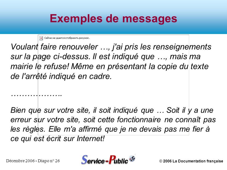 © 2006 La Documentation française Décembre 2006 - Diapo n° 26 Exemples de messages Voulant faire renouveler …, j'ai pris les renseignements sur la pag