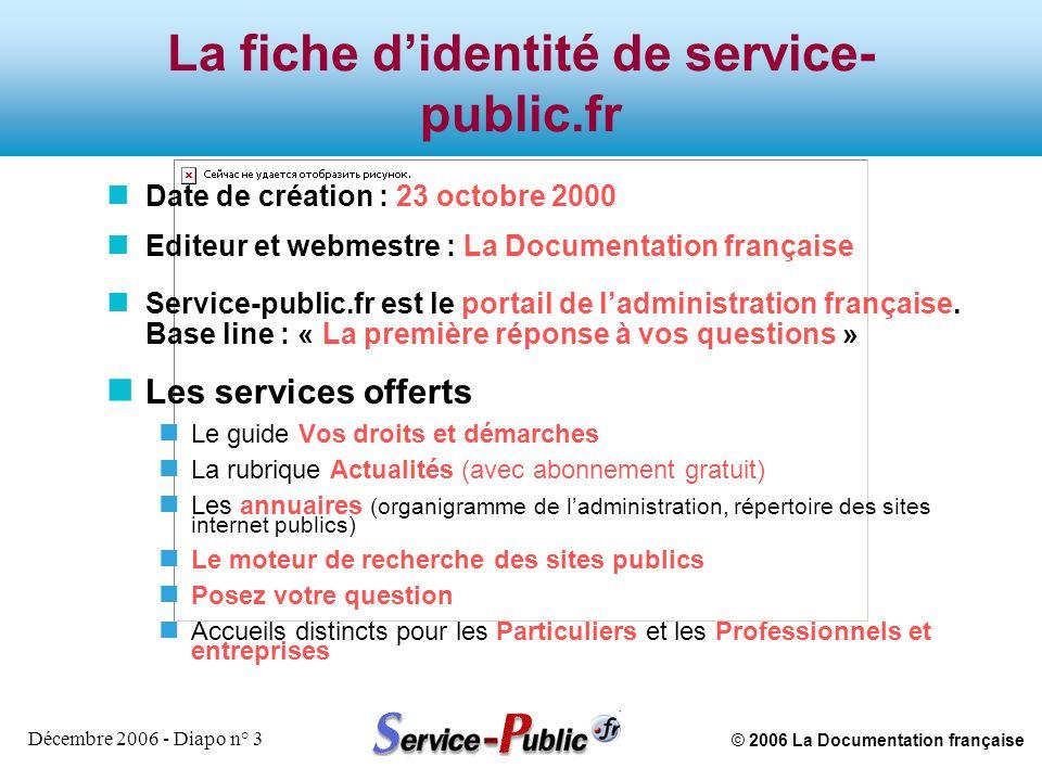 © 2006 La Documentation française Décembre 2006 - Diapo n° 3 La fiche didentité de service- public.fr n Date de création : 23 octobre 2000 n Editeur e