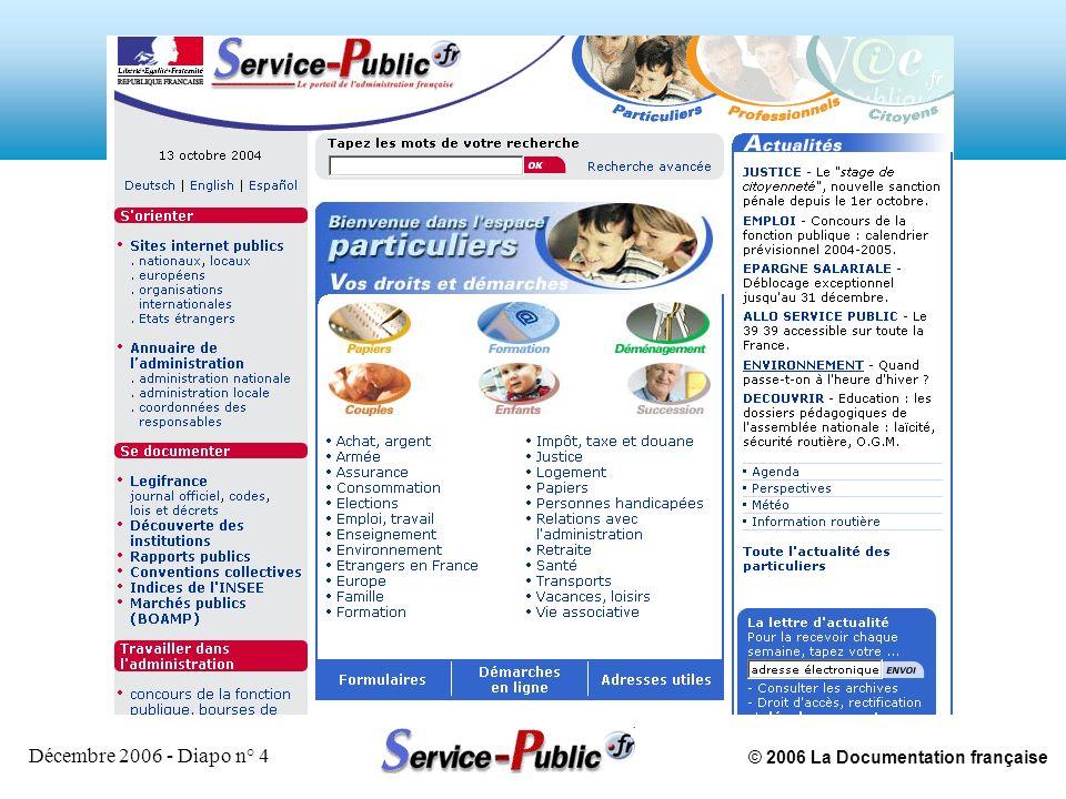 © 2006 La Documentation française Décembre 2006 - Diapo n° 5 Espace Professionnels et entreprises lancé en novembre 2003