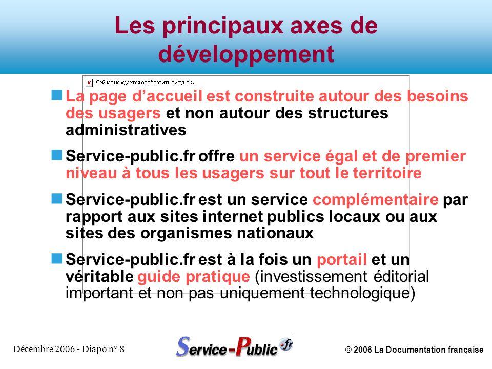 © 2006 La Documentation française Décembre 2006 - Diapo n° 9 Les principaux axes de développement n La dimension citoyenne (e-démocratie) est assurée par un site distinct : vie-publique.fr qui est axé sur la connaissance en profondeur des politiques publiques