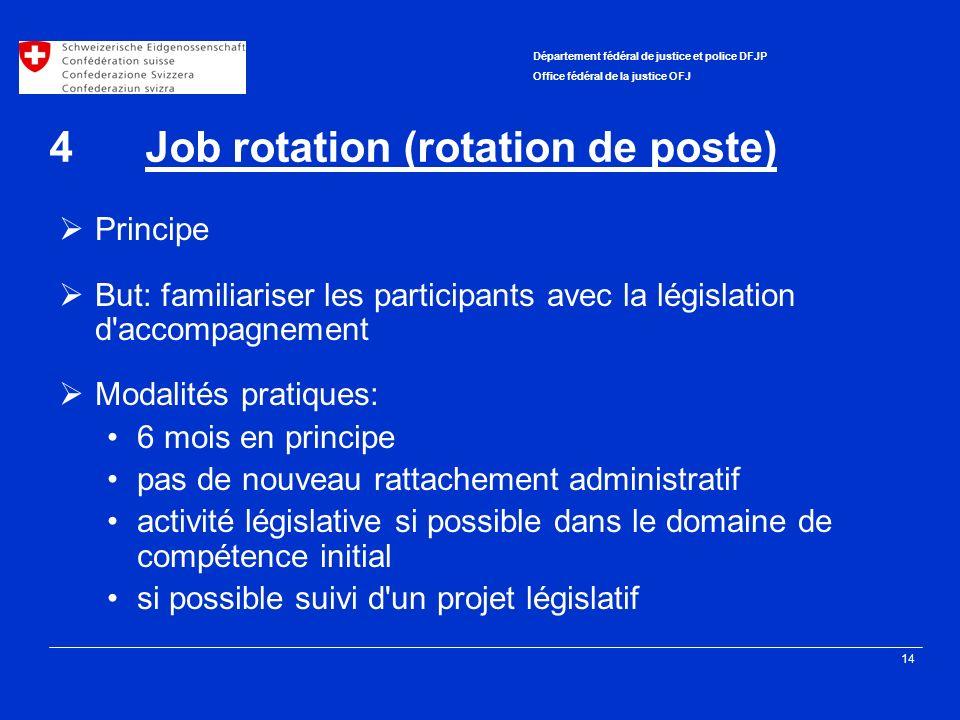 14 Département fédéral de justice et police DFJP Office fédéral de la justice OFJ 4Job rotation (rotation de poste) Principe But: familiariser les par