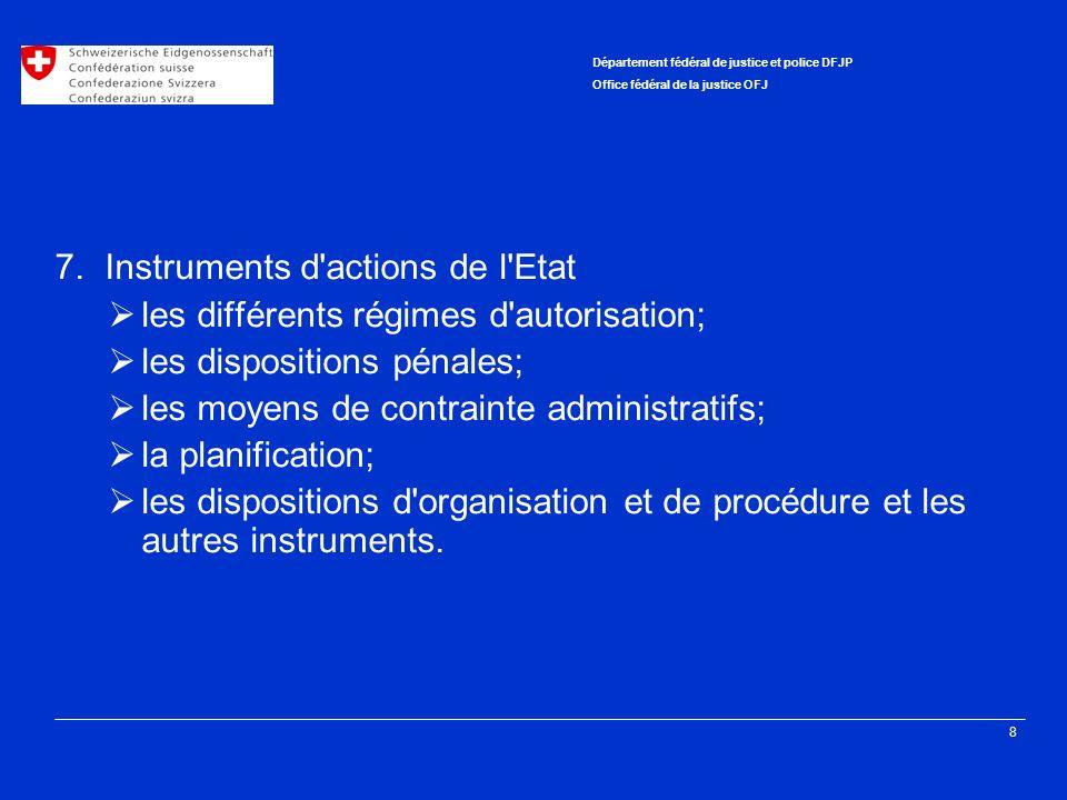 8 Département fédéral de justice et police DFJP Office fédéral de la justice OFJ 7. Instruments d'actions de l'Etat les différents régimes d'autorisat