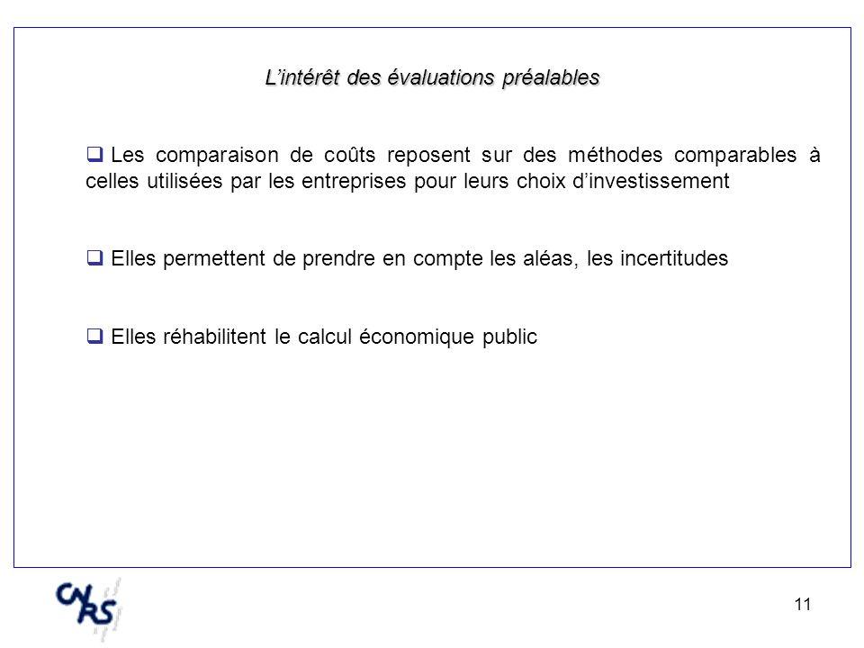 11 Lintérêt des évaluations préalables Les comparaison de coûts reposent sur des méthodes comparables à celles utilisées par les entreprises pour leur