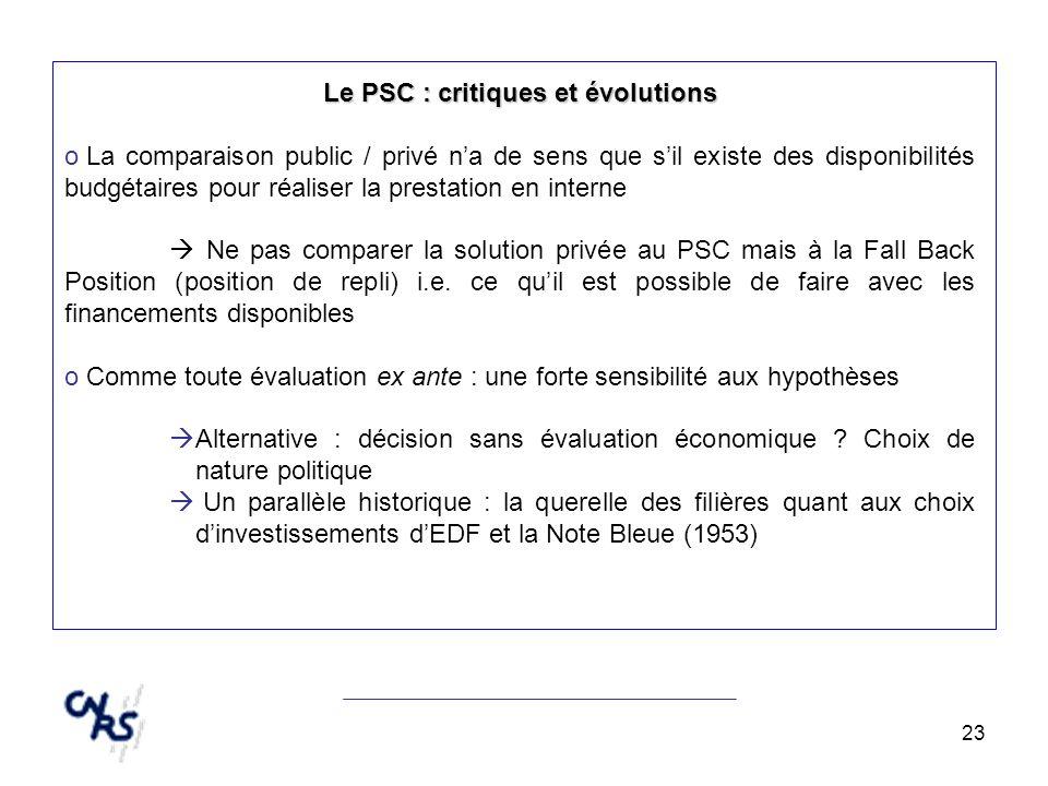 23 Le PSC : critiques et évolutions o La comparaison public / privé na de sens que sil existe des disponibilités budgétaires pour réaliser la prestati