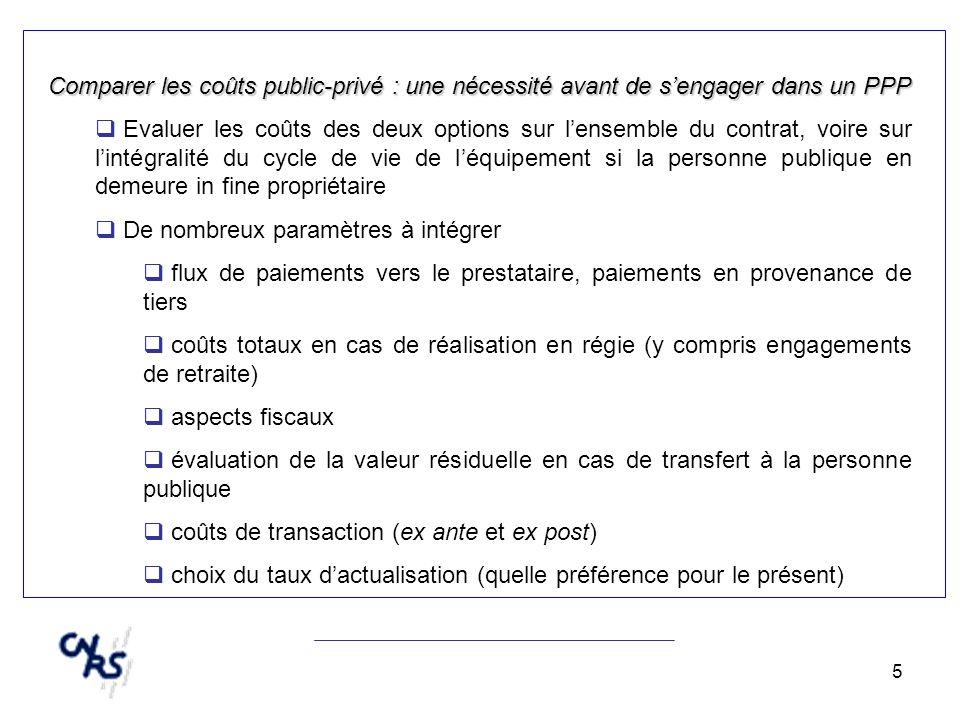 5 Comparer les coûts public-privé : une nécessité avant de sengager dans un PPP Evaluer les coûts des deux options sur lensemble du contrat, voire sur