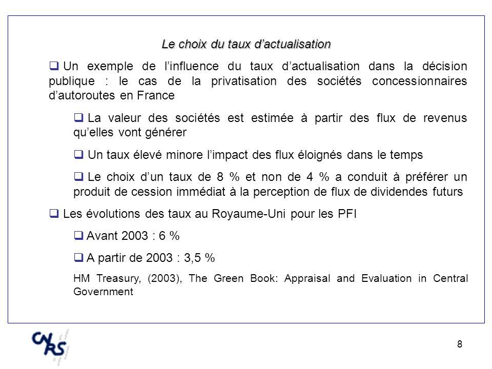 8 Le choix du taux dactualisation Un exemple de linfluence du taux dactualisation dans la décision publique : le cas de la privatisation des sociétés