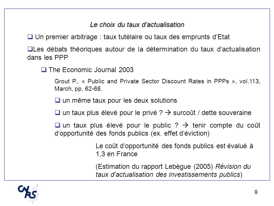 9 Le choix du taux dactualisation Un premier arbitrage : taux tutélaire ou taux des emprunts dEtat Les débats théoriques autour de la détermination du taux dactualisation dans les PPP The Economic Journal 2003 Grout P., « Public and Private Sector Discount Rates in PPPs », vol.113, March, pp.