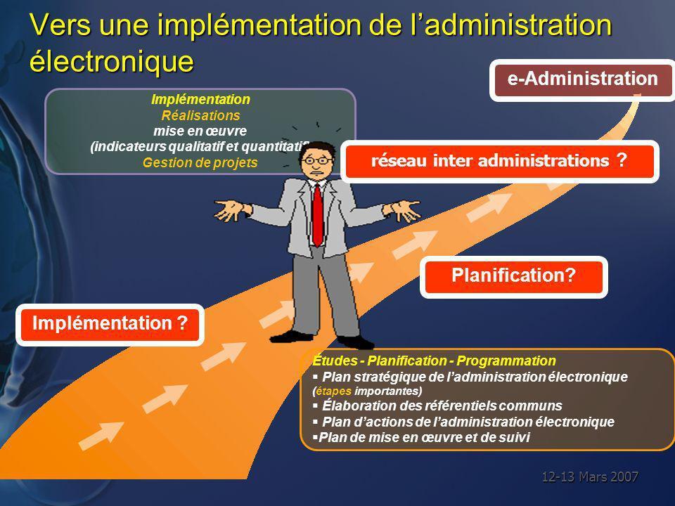 12-13 Mars 2007 Vers une implémentation de ladministration électronique Études - Planification - Programmation Plan stratégique de ladministration éle