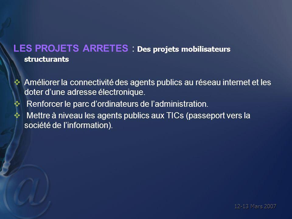 12-13 Mars 2007 LES PROJETS ARRETES : Des projets mobilisateurs structurants Améliorer la connectivité des agents publics au réseau internet et les do