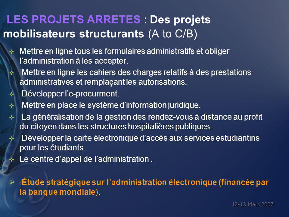 12-13 Mars 2007 LES PROJETS ARRETES : Des projets mobilisateurs structurants (A to C/B) Mettre en ligne tous les formulaires administratifs et obliger