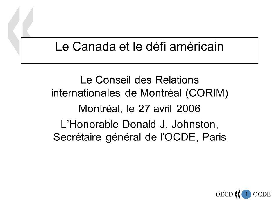 1 Le Canada et le défi américain Le Conseil des Relations internationales de Montréal (CORIM) Montréal, le 27 avril 2006 LHonorable Donald J.