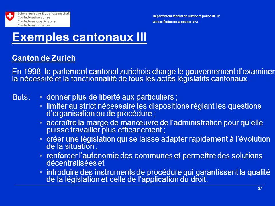 27 Département fédéral de justice et police DFJP Office fédéral de la justice OFJ En 1998, le parlement cantonal zurichois charge le gouvernement dexaminer la nécessité et la fonctionnalité de tous les actes législatifs cantonaux.