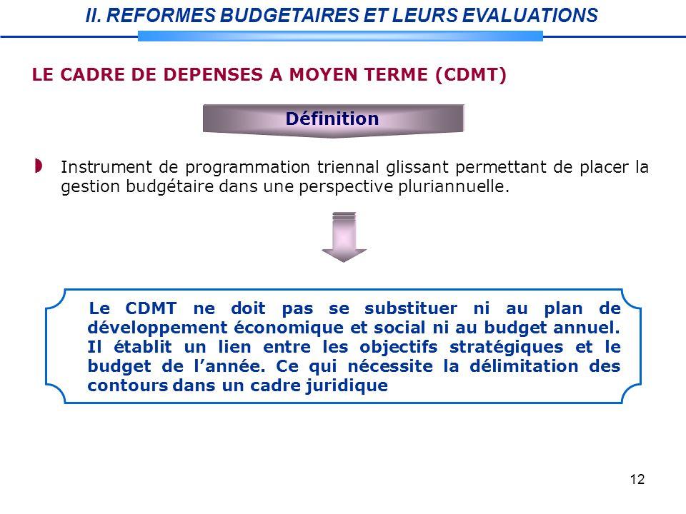 12 Définition Instrument de programmation triennal glissant permettant de placer la gestion budgétaire dans une perspective pluriannuelle.