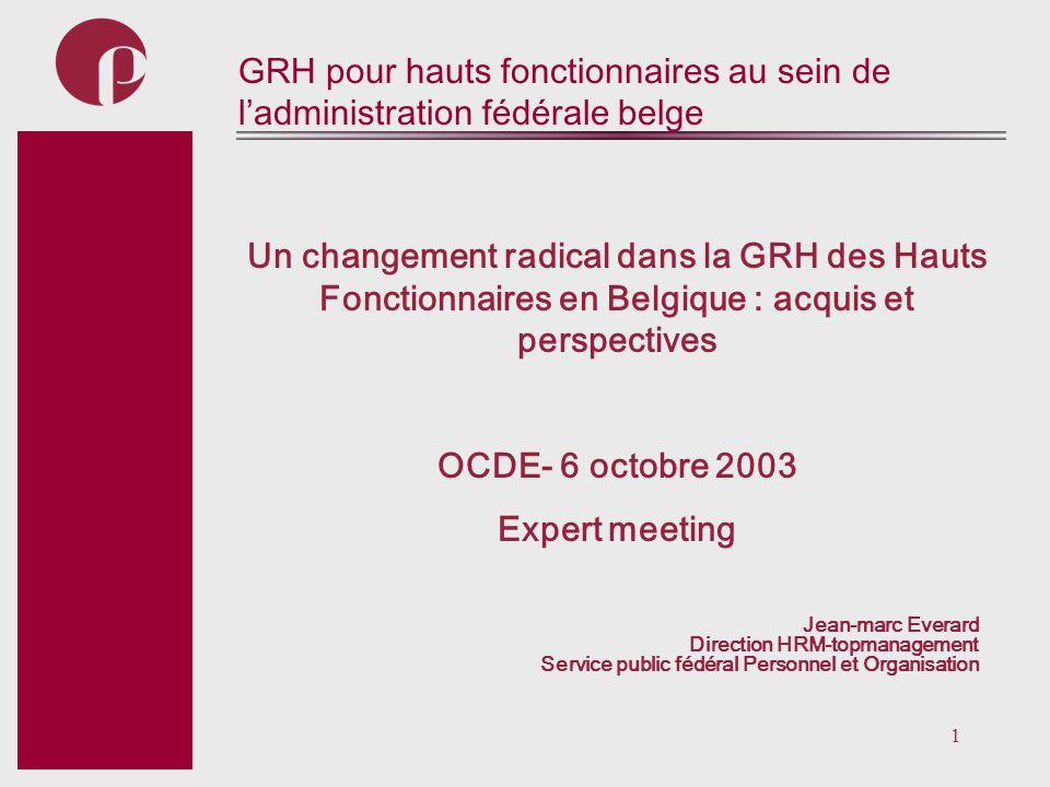 1 Subtitel GRH pour hauts fonctionnaires au sein de ladministration fédérale belge Un changement radical dans la GRH des Hauts Fonctionnaires en Belgi