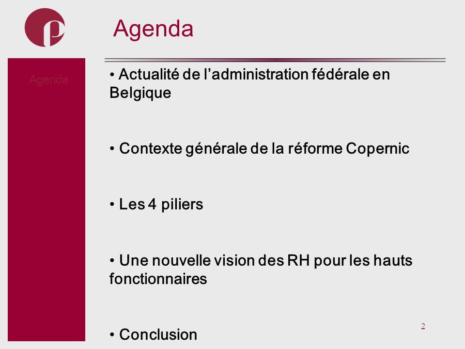 2 Subtitel Agenda Actualité de ladministration fédérale en Belgique Contexte générale de la réforme Copernic Les 4 piliers Une nouvelle vision des RH