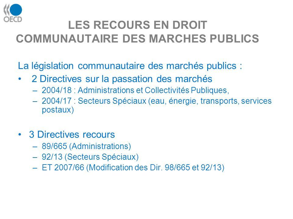 LES RECOURS EN DROIT COMMUNAUTAIRE DES MARCHES PUBLICS La législation communautaire des marchés publics : 2 Directives sur la passation des marchés –2004/18 : Administrations et Collectivités Publiques, –2004/17 : Secteurs Spéciaux (eau, énergie, transports, services postaux) 3 Directives recours –89/665 (Administrations) –92/13 (Secteurs Spéciaux) –ET 2007/66 (Modification des Dir.