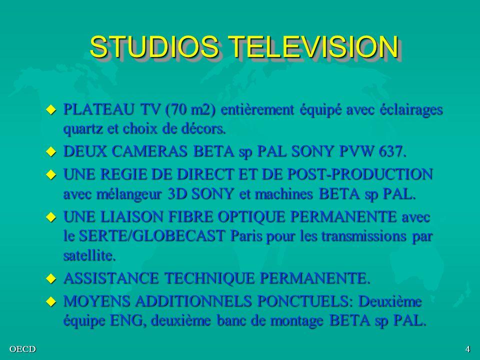 OECD4 STUDIOS TELEVISION u PLATEAU TV (70 m2) entièrement équipé avec éclairages quartz et choix de décors. u DEUX CAMERAS BETA sp PAL SONY PVW 637. u