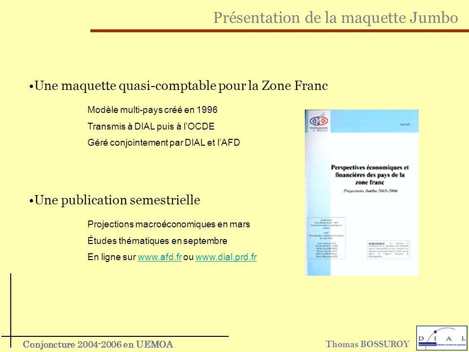 Thomas BOSSUROY Conjoncture 2004-2006 en UEMOA Présentation de la maquette Jumbo Une publication semestrielle Projections macroéconomiques en mars Étu