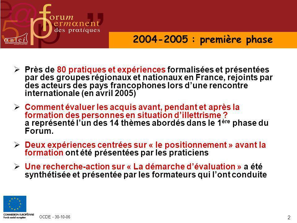 OCDE - 30-10-06 2 Près de 80 pratiques et expériences formalisées et présentées par des groupes régionaux et nationaux en France, rejoints par des act