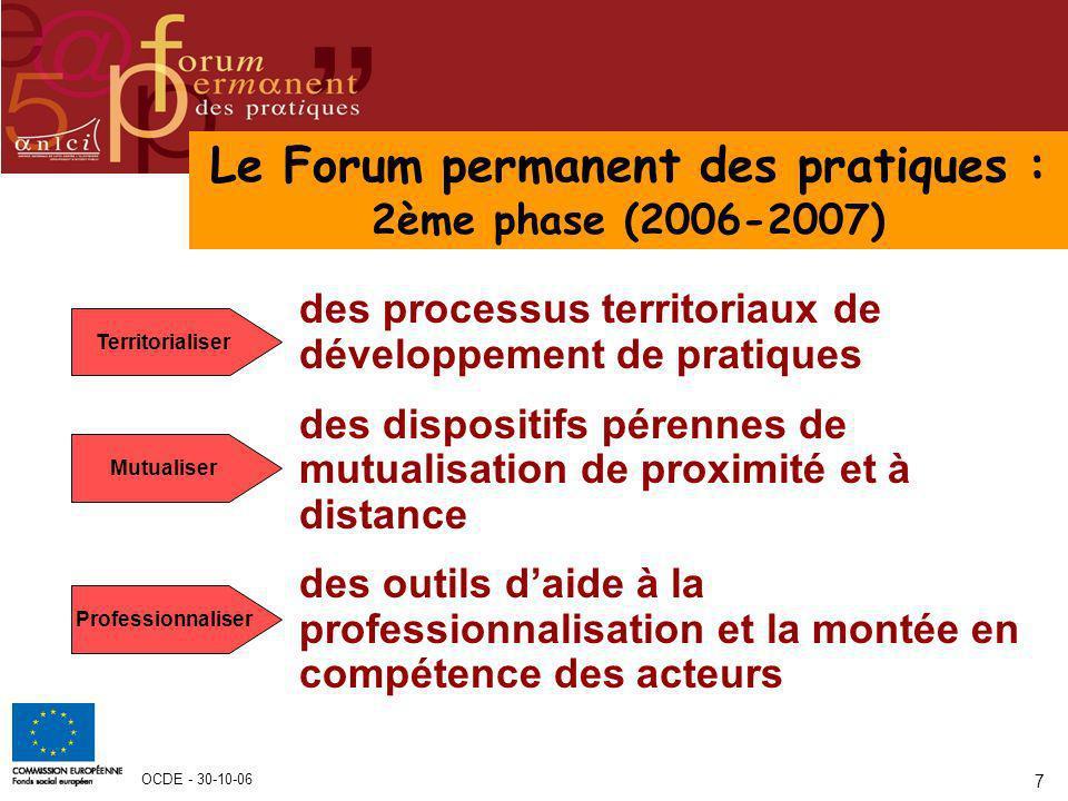 OCDE - 30-10-06 7 Le Forum permanent des pratiques : 2ème phase (2006-2007) des processus territoriaux de développement de pratiques des dispositifs p