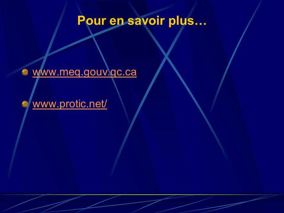 Pour en savoir plus… www.meq.gouv.qc.ca www.protic.net/