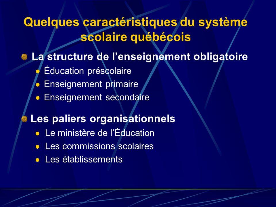 Quelques caractéristiques du système scolaire québécois La structure de lenseignement obligatoire Éducation préscolaire Enseignement primaire Enseignement secondaire Les paliers organisationnels Le ministère de lÉducation Les commissions scolaires Les établissements