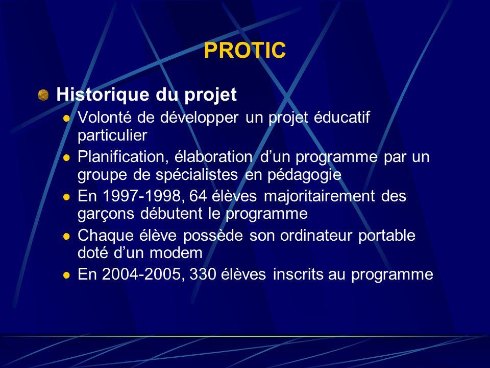 PROTIC Historique du projet Volonté de développer un projet éducatif particulier Planification, élaboration dun programme par un groupe de spécialiste