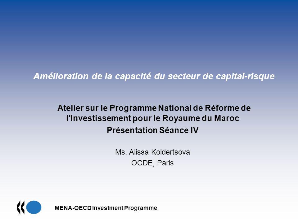MENA-OECD Investment Programme Amélioration de la capacité du secteur de capital-risque Atelier sur le Programme National de Réforme de l'Investisseme