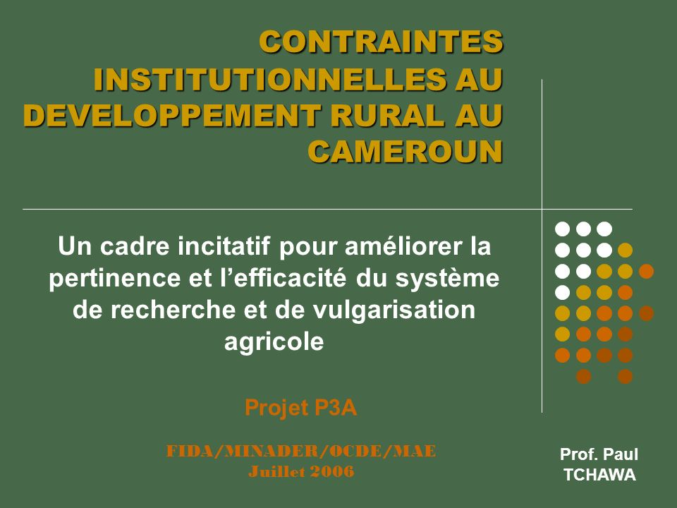 CONTRAINTES INSTITUTIONNELLES AU DEVELOPPEMENT RURAL AU CAMEROUN CONTRAINTES INSTITUTIONNELLES AU DEVELOPPEMENT RURAL AU CAMEROUN Un cadre incitatif p