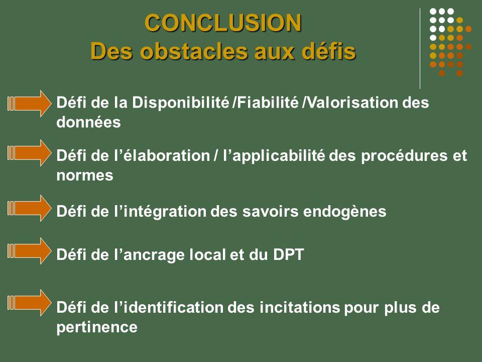 CONCLUSION Des obstacles aux défis Défi de la Disponibilité /Fiabilité /Valorisation des données Défi de lélaboration / lapplicabilité des procédures