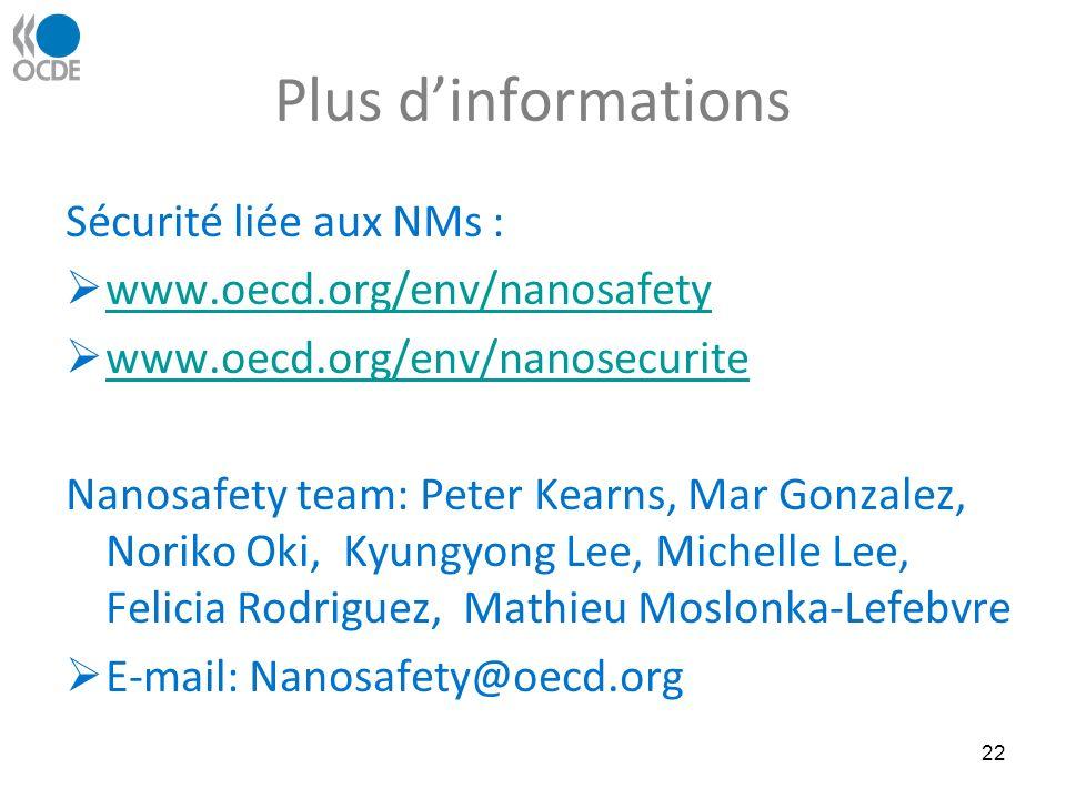 Plus dinformations Sécurité liée aux NMs : www.oecd.org/env/nanosafety www.oecd.org/env/nanosecurite Nanosafety team: Peter Kearns, Mar Gonzalez, Noriko Oki, Kyungyong Lee, Michelle Lee, Felicia Rodriguez, Mathieu Moslonka-Lefebvre E-mail: Nanosafety@oecd.org 22