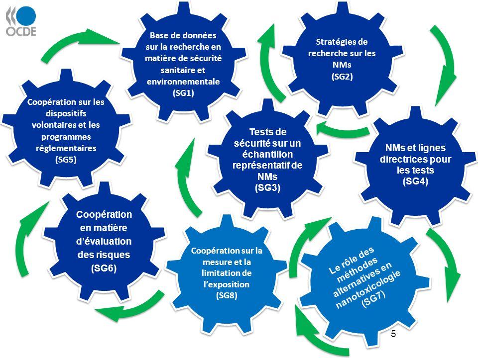 5 Coopération sur les dispositifs volontaires et les programmes réglementaires (SG5) Coopération sur la mesure et la limitation de lexposition (SG8) Tests de sécurité sur un échantillon représentatif de NMs (SG3) Tests de sécurité sur un échantillon représentatif de NMs (SG3) Le rôle des méthodes alternatives en nanotoxicologie (SG7) NMs et lignes directrices pour les tests (SG4) NMs et lignes directrices pour les tests (SG4) Coopération en matière dévaluation des risques (SG6) Coopération en matière dévaluation des risques (SG6) Base de données sur la recherche en matière de sécurité sanitaire et environnementale (SG1) Stratégies de recherche sur les NMs (SG2) Stratégies de recherche sur les NMs (SG2)