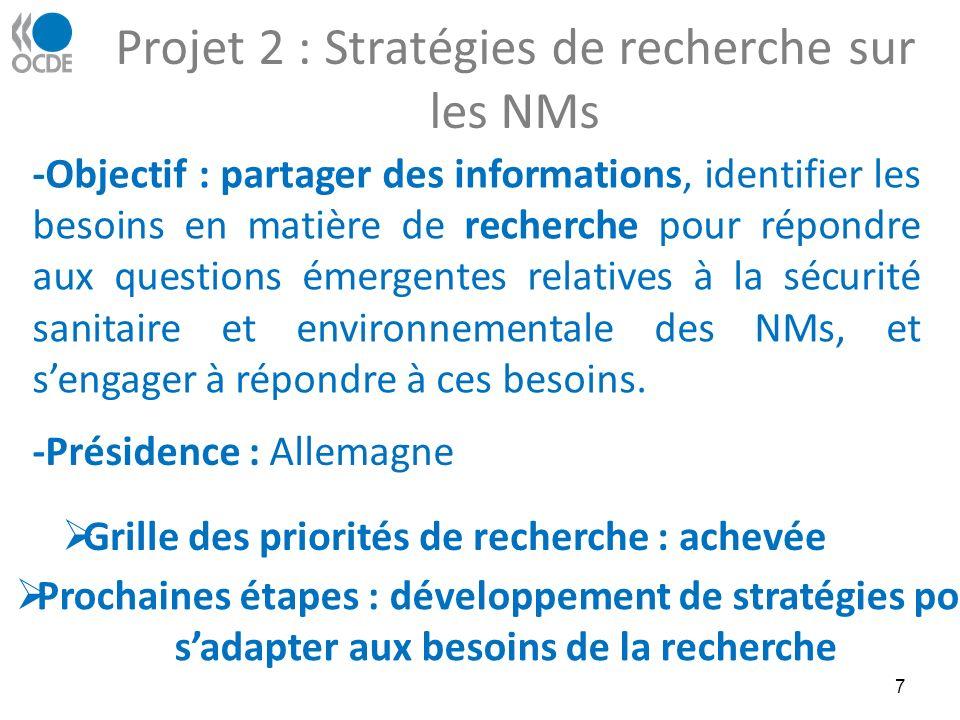 Projet 2 : Stratégies de recherche sur les NMs 7 -Objectif : partager des informations, identifier les besoins en matière de recherche pour répondre aux questions émergentes relatives à la sécurité sanitaire et environnementale des NMs, et sengager à répondre à ces besoins.