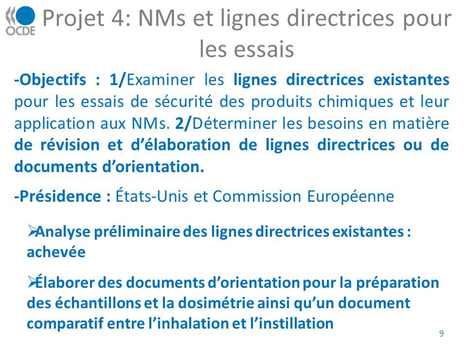 Projet 4: NMs et lignes directrices pour les essais 9 -Objectifs : 1/Examiner les lignes directrices existantes pour les essais de sécurité des produits chimiques et leur application aux NMs.