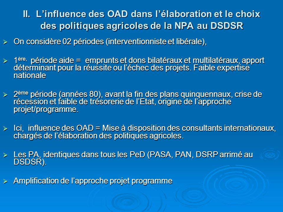 II. Linfluence des OAD dans lélaboration et le choix des politiques agricoles de la NPA au DSDSR On considère 02 périodes (interventionniste et libéra