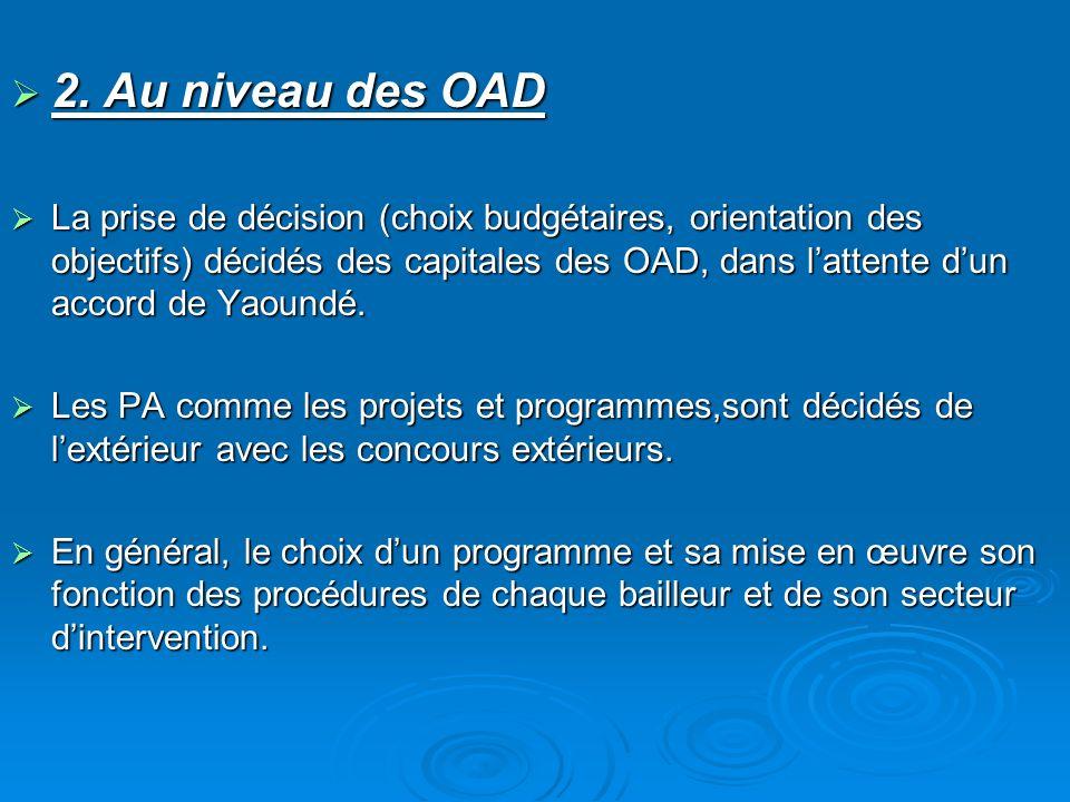 2. Au niveau des OAD 2. Au niveau des OAD La prise de décision (choix budgétaires, orientation des objectifs) décidés des capitales des OAD, dans latt
