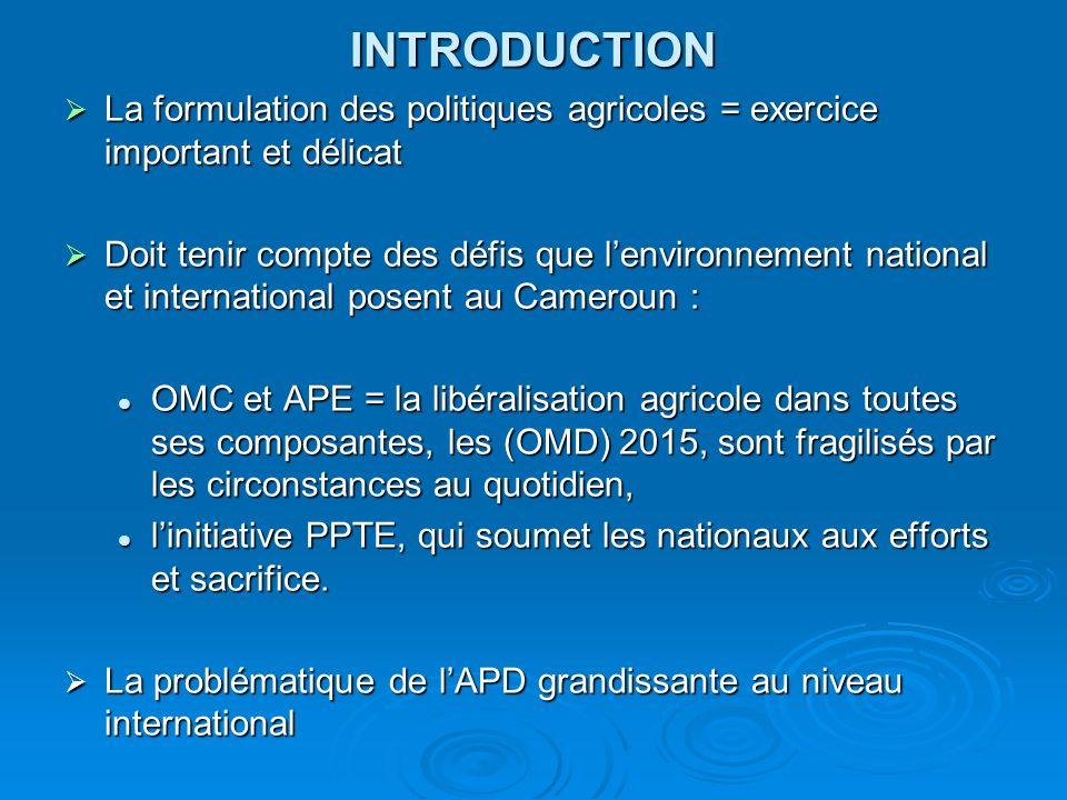 INTRODUCTION La formulation des politiques agricoles = exercice important et délicat La formulation des politiques agricoles = exercice important et d