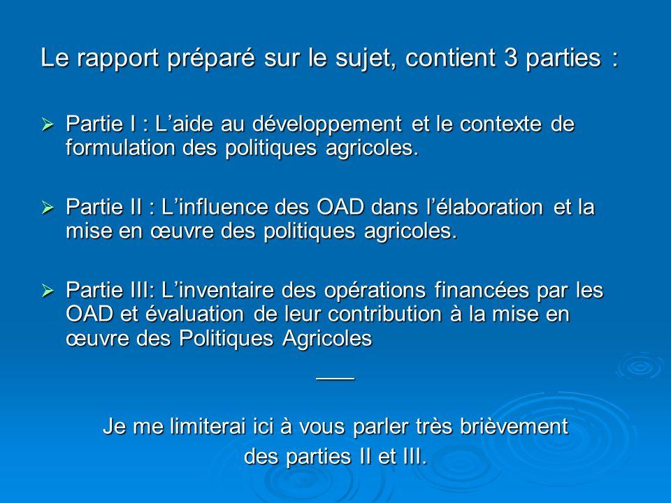 Le rapport préparé sur le sujet, contient 3 parties : Partie I : Laide au développement et le contexte de formulation des politiques agricoles. Partie