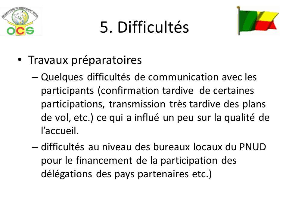 5. Difficultés Travaux préparatoires – Quelques difficultés de communication avec les participants (confirmation tardive de certaines participations,