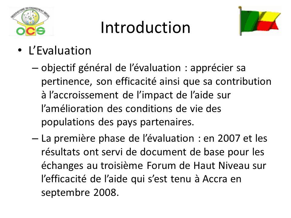 Introduction LEvaluation – objectif général de lévaluation : apprécier sa pertinence, son efficacité ainsi que sa contribution à laccroissement de lim